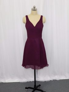 Perfect Mini Length Dark Purple Prom Evening Gown V-neck Sleeveless Zipper