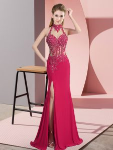 Custom Made Hot Pink Sleeveless Beading Floor Length Prom Party Dress