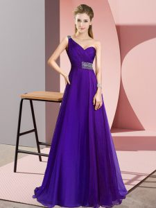 Lovely One Shoulder Sleeveless Brush Train Criss Cross Prom Dress Purple Chiffon
