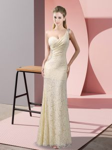 Suitable Champagne Evening Dresses Prom and Party with Beading and Lace One Shoulder Sleeveless Criss Cross