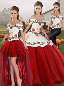 Clearance Floor Length White And Red Quinceanera Dress Organza Sleeveless Embroidery