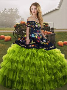 Delicate Olive Green Lace Up Off The Shoulder Embroidery and Ruffled Layers 15th Birthday Dress Organza Sleeveless