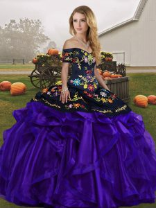 Pretty Black And Purple Lace Up Quinceanera Gowns Embroidery and Ruffles Sleeveless Floor Length