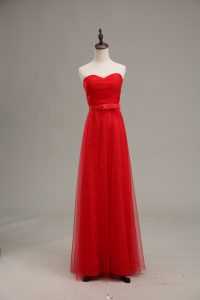On Sale Red Sleeveless Ruching and Belt Floor Length Evening Dress