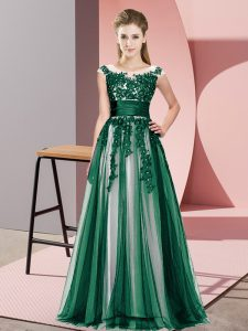 Fitting Empire Vestidos de Damas Dark Green Scoop Tulle Sleeveless Floor Length Zipper