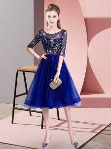 Spectacular Blue Empire Embroidery Dama Dress Lace Up Tulle Half Sleeves Knee Length