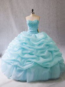 Fitting Aqua Blue Sleeveless Organza Lace Up Quince Ball Gowns for Sweet 16 and Quinceanera