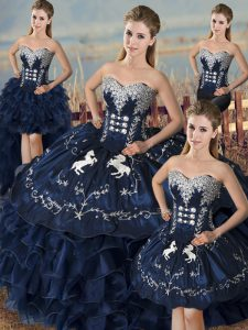 Navy Blue Sweetheart Lace Up Embroidery and Ruffles Sweet 16 Dresses Sleeveless