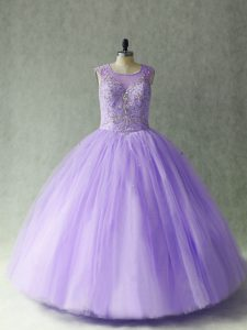 Custom Fit Sleeveless Floor Length Beading Lace Up Sweet 16 Dress with Lavender