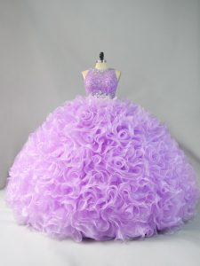 Fantastic Floor Length Lavender Quince Ball Gowns Scoop Sleeveless Zipper