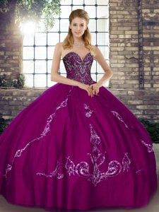 Fuchsia Lace Up Sweet 16 Dress Beading and Embroidery Sleeveless Floor Length