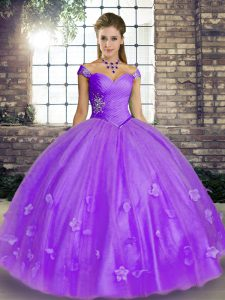Wonderful Off The Shoulder Sleeveless Ball Gown Prom Dress Floor Length Beading and Appliques Lavender Tulle