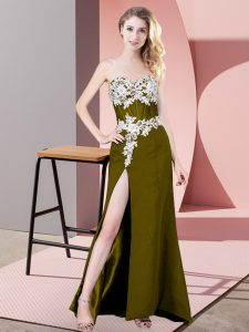 Elegant Olive Green Zipper Sweetheart Lace and Appliques Chiffon Sleeveless