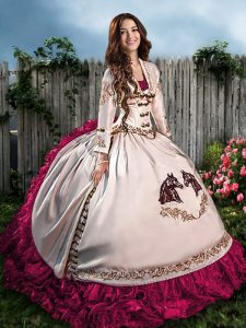 Fantastic Hot Pink Sweetheart Lace Up Embroidery and Ruffles Sweet 16 Quinceanera Dress Sleeveless