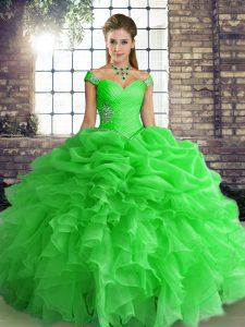 Customized Green Off The Shoulder Neckline Beading and Ruffles and Pick Ups Sweet 16 Dresses Sleeveless Lace Up