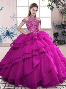 Beading and Ruffled Layers 15 Quinceanera Dress Fuchsia Lace Up Sleeveless Floor Length