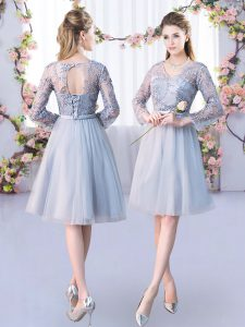 Fabulous Grey Long Sleeves Knee Length Lace and Belt Lace Up Court Dresses for Sweet 16