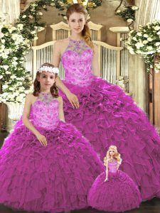 Designer Organza Sleeveless Floor Length Sweet 16 Dresses and Beading and Ruffles