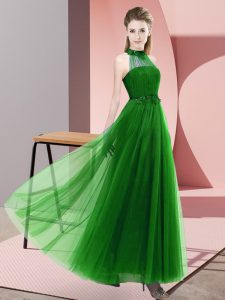 Green Empire Tulle Halter Top Sleeveless Beading and Appliques Floor Length Lace Up Quinceanera Dama Dress