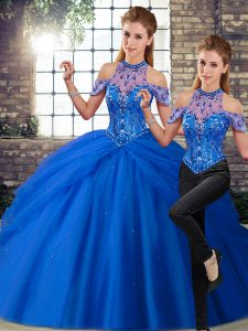 Discount Beading and Pick Ups Ball Gown Prom Dress Blue Lace Up Sleeveless Brush Train