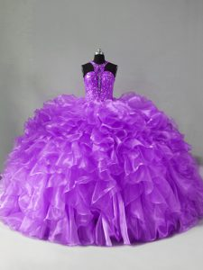 Most Popular Purple Ball Gowns Organza Halter Top Sleeveless Beading and Ruffles Zipper Vestidos de Quinceanera Brush Train