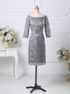 Grey Column/Sheath Lace Prom Gown Zipper Lace Half Sleeves Knee Length