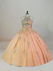 Fitting Peach Sleeveless Appliques and Embroidery Lace Up Quinceanera Dress