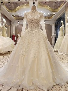 White Wedding Dresses High-neck Long Sleeves Court Train Lace Up
