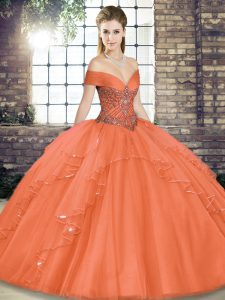 Orange Red Ball Gowns Off The Shoulder Sleeveless Tulle Floor Length Lace Up Beading and Ruffles Quinceanera Gowns