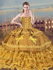 Brown Lace Up Sweetheart Embroidery and Ruffles Sweet 16 Dress Organza Sleeveless Brush Train