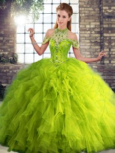 Custom Made Olive Green Halter Top Neckline Beading and Ruffles Quince Ball Gowns Sleeveless Lace Up