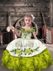 Floor Length Lace Up Child Pageant Dress Olive Green for Wedding Party with Beading and Embroidery and Ruffles