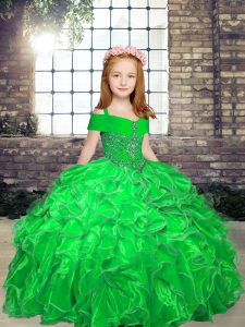 Organza Lace Up High School Pageant Dress Sleeveless Floor Length Beading and Ruffles