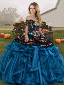 Sumptuous Blue And Black Lace Up Off The Shoulder Embroidery and Ruffles Sweet 16 Dress Organza Sleeveless