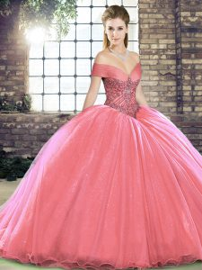 Shining Sleeveless Brush Train Lace Up Beading Quinceanera Gown