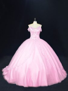 Baby Pink Off The Shoulder Lace Up Beading Sweet 16 Dresses Court Train Sleeveless
