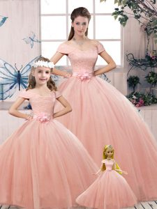 Pink Off The Shoulder Lace Up Lace and Hand Made Flower Quince Ball Gowns Short Sleeves