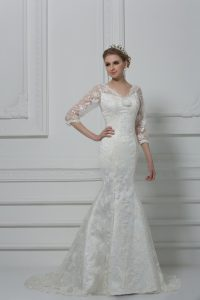 Glittering White Mermaid V-neck 3 4 Length Sleeve Lace Brush Train Lace Up Lace and Hand Made Flower Bridal Gown
