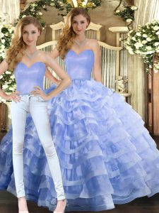 Chic Floor Length Lavender Sweet 16 Dresses Organza Sleeveless Ruffled Layers