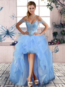 High Low A-line Sleeveless Light Blue Homecoming Dress Lace Up