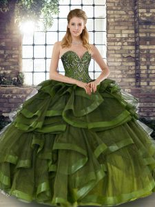 Olive Green Sweetheart Neckline Beading and Ruffles Quinceanera Dress Sleeveless Lace Up