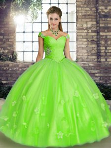 Suitable Tulle Lace Up Off The Shoulder Sleeveless Floor Length Quinceanera Dresses Beading and Appliques
