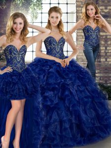 Adorable Royal Blue Sweetheart Lace Up Beading and Ruffles Quinceanera Dress Sleeveless