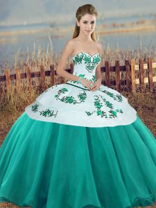 Sweet Turquoise Sleeveless Tulle Lace Up Sweet 16 Quinceanera Dress for Military Ball and Sweet 16 and Quinceanera
