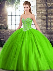 Fashionable Brush Train Ball Gowns Quince Ball Gowns Sweetheart Tulle Sleeveless Lace Up