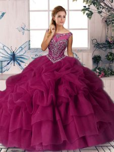 Fuchsia Quinceanera Dress Organza Brush Train Sleeveless Beading and Pick Ups