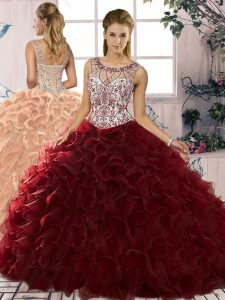 Burgundy Lace Up Scoop Beading and Ruffles 15th Birthday Dress Organza Sleeveless