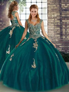 Dazzling Floor Length Peacock Green Sweet 16 Quinceanera Dress Straps Sleeveless Lace Up