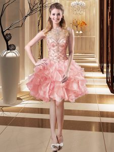 Gorgeous Pink Prom Dress Prom and Party with Beading and Ruffles Scoop Sleeveless Lace Up