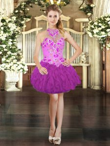 Sleeveless Mini Length Embroidery and Ruffles Lace Up Prom Dress with Fuchsia